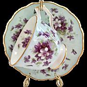 Aynsley England Violets 2919/1 Blue Bone China Teacup and Saucer
