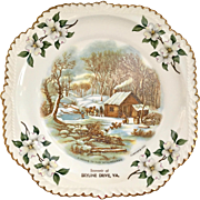 Souvenir of Skyline Drive Virginia Currier & Ives Gadroon Edge Plate