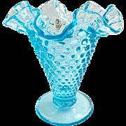 Fenton Glass Blue Topaz 5-5/8 inch Double Crimped Hobnail Vase