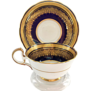 Aynsley Bone China Simcoe 7410 Encrusted Gold on Deep Cobalt Blue Teacup and Saucer