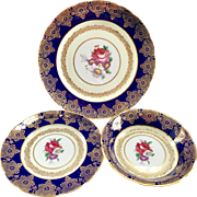 Paragon Bone China A72 Cobalt Blue Gold Filigree 3-Piece Set Plate, Bread and Butter Plate, Fruit Bowl