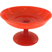 Circa 1920s Fired On Orange Glass Stemmed Cheese Compote