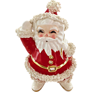 Napco Red and White Santa Planter with Spaghetti Hair circa 1950s