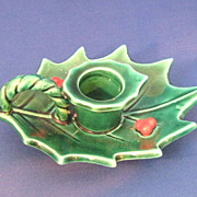Lefton Green Holly 1960s One Handled Candleholder