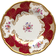 Coalport Bone China Burgundy Red Batwing Paneled and Gold Encrusted Luncheon Display Plate