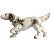 Black and White Pointing Bird Dog Porcelain Figurine - Japan