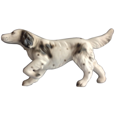 Black and White Pointing Bird Dog Porcelain Figurine - Japan