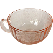 Hazel-Atlas Fruits Pink Depression Glass Cup