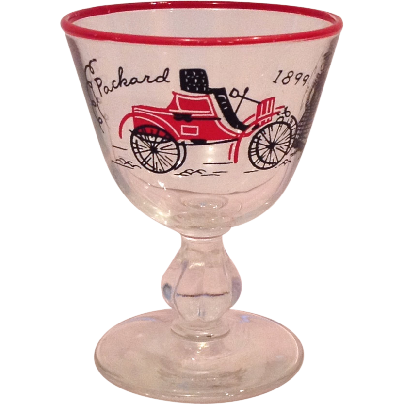 Libbey Rock Sharpe Horseless Carriage Packard Red Rimmed Cocktail Glasses - Set of Three