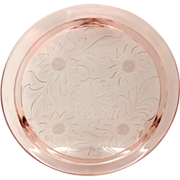 Jeannette Sunflower Pink Depression Glass Cake Plate