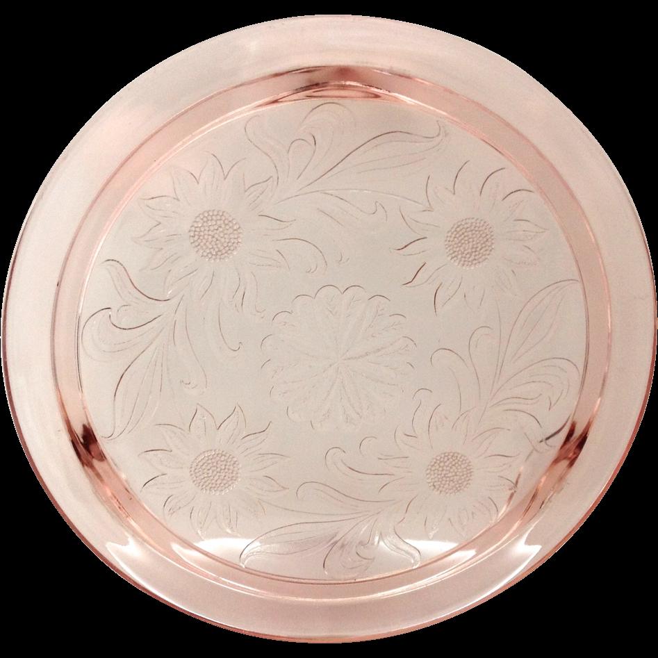 sc 1 st  Ruby Lane & Jeannette Sunflower Pink Depression Glass Cake Plate SOLD | Ruby Lane