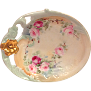 Early 1900s Wm. Guerin Limoges France Hand Painted Roses Gold Handle PIn Dish - Red Tag Sale Item