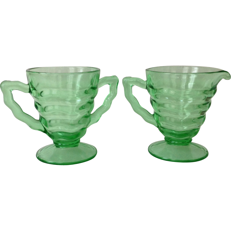 D. C. Jenkins Depression Glass Ocean Wave Green Rippled Cream and Sugar