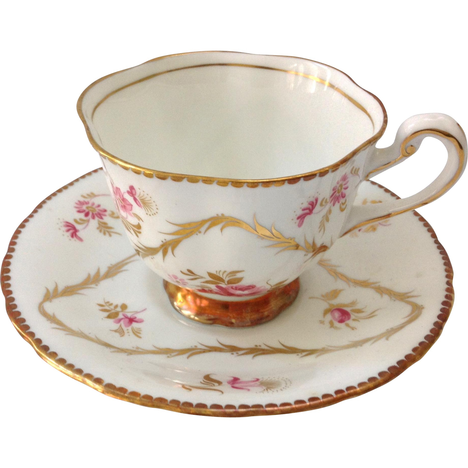 Royal Chelsea Bone China 4351A Pink Roses Gold Triangle Teacup and Saucer