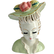 Thames Mint Green Lady Head Vase Pierced Hair