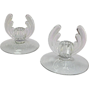 Heisey Crystolite 1503 Elegant Glass One-Light Footed Candlestick Pair