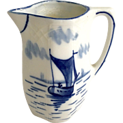 Blue and White Porcelain Cream Pitcher with Sailboat Scene Germany