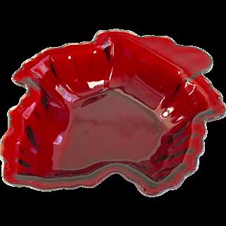 Anchor Hocking Glass Royal Ruby Leaf Shaped Candy or Dessert Bowl