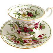 Royal Albert Bone China December Christmas Rose Flower of the Month Teacup and Saucer