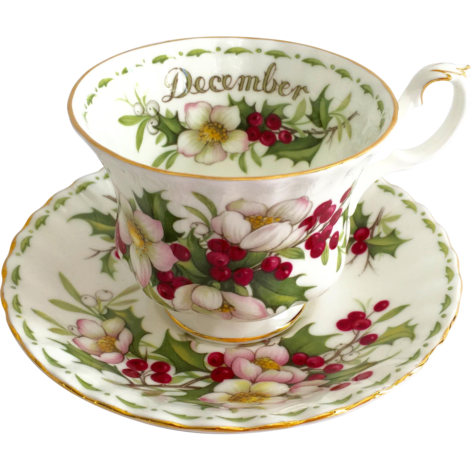 royal albert bone china december christmas rose flower of the month from maggiebelles on ruby lane. Black Bedroom Furniture Sets. Home Design Ideas