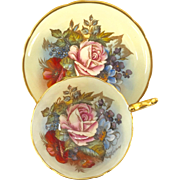 Aynsley Bone China Yellow Rose Floral Gold Trim Teacup and Saucer 1204 Signed J.A. Bailey