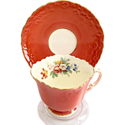 Aynsley Bone China Coral Embossed C511 Floral Teacup and Saucer