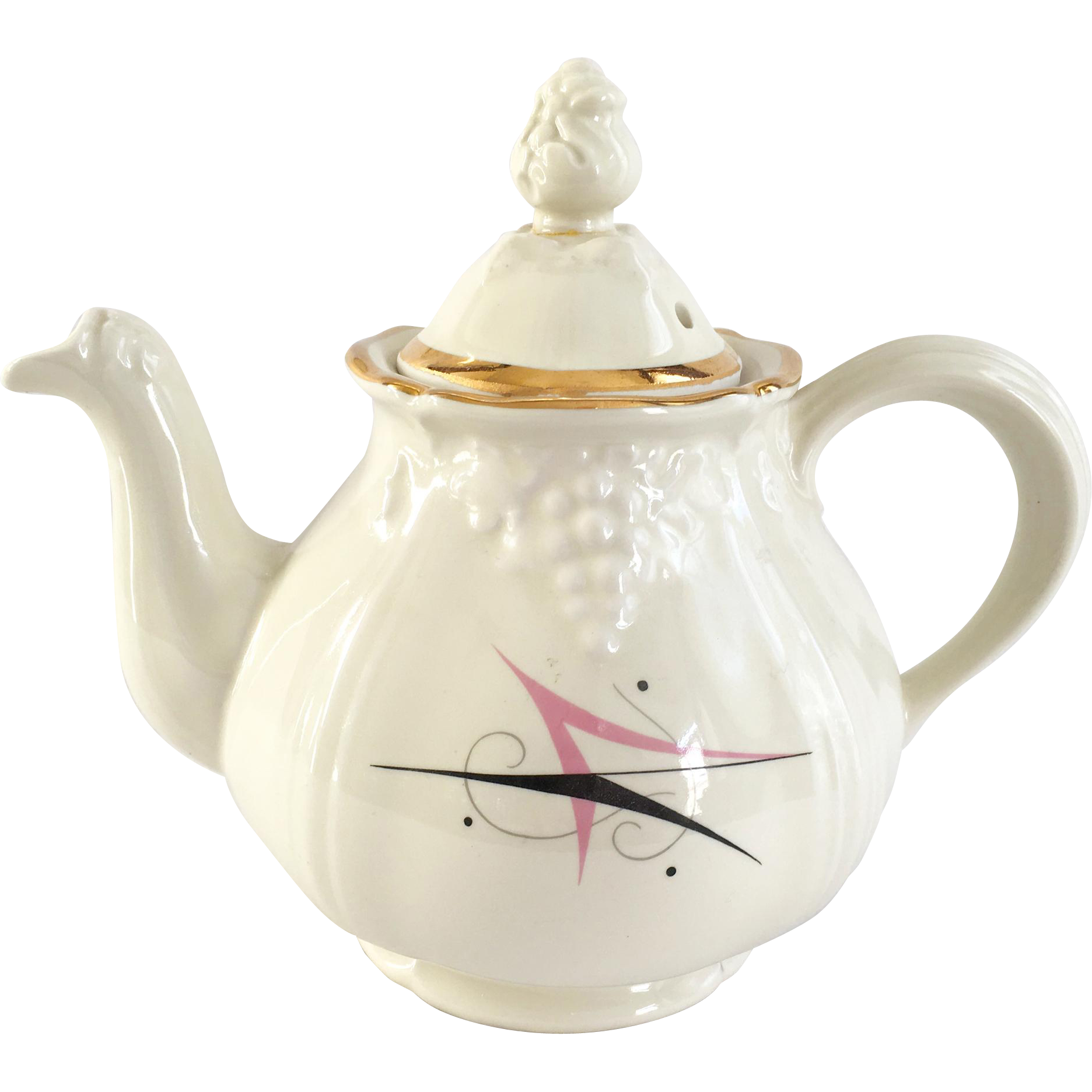Mid Century Hall China Thorley Grape Harlequin Atomic Design Teapot