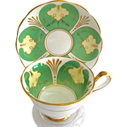 Royal Albert Bone China Green Panels Gold Trim Teacup and Saucer