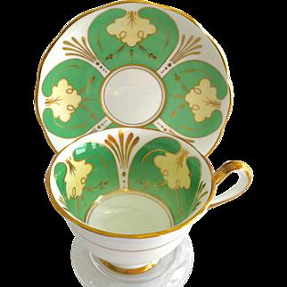 Royal Albert Bone China Green Panels Gold Trim Teacup and Saucer