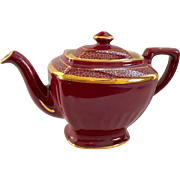 Hall China Maroon and Gold Hollywood Teapot