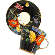 Aynsley Bone China B4156 Bright Poppies on Black Rim Teacup and Saucer