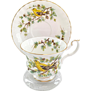Royal Albert Bone China Woodland Series Goldfinch Teacup and Saucer