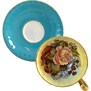 Aynsley Bone China England Signed J.A. Bailey Rose Floral Turquoise Blue Teacup and Saucer