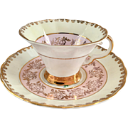 Regency England Pink and Gold Filigree Bone China Teacup and Saucer