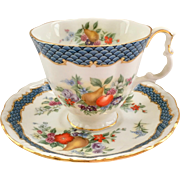 Royal Albert Imperial Fruit Series Blue Lagoon Bone China Demitasse Cup and Saucer