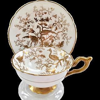 Coalport Bone China Cairo Bird Gold on White Teacup and Saucer