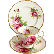 Royal Albert Bone China American Beauty Teacup Saucer and Dessert Plate