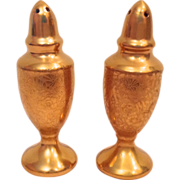Rose and Daisy All Over Gold AOG Encrusted Circa 1920s Salt and Pepper Shakers