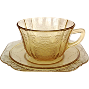 Federal Madrid Amber Depression Glass Cup and Saucer Set