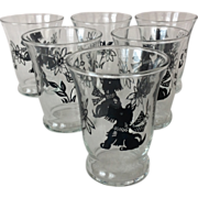 Set of Four Vintage 1950s Libbey Scottie Dog Safedge 4 oz. Juice Glass Tumbler