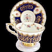 Paragon Bone China Trenton Cobalt Blue and Gold Teacup and Saucer