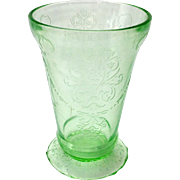 Bowknot Green Depression Glass Footed Tumbler