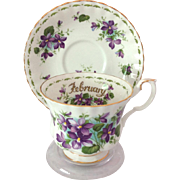 Royal Albert Bone China February Flower of the Month Series Violets Teacup and Saucer