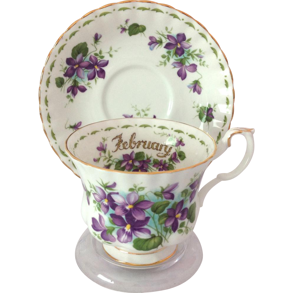 royal albert bone china february flower of the month series violets from maggiebelles on ruby lane. Black Bedroom Furniture Sets. Home Design Ideas