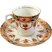 Colclough Bone China England Cobalt Blue and Red Floral Imari Style Demitasse Cup and Saucer