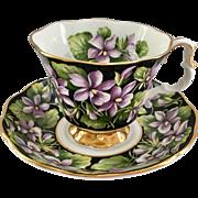 Royal Albert Bone China Provincial Flowers Purple Violet Teacup and Saucer