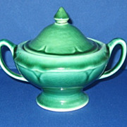 Mount Clemens Pottery Petal Dark Green Covered Sugar Bowl