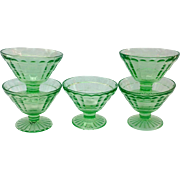 Hocking Block Optic Green Cone Shaped Depression Glass Sherbets Set of Five