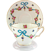 Crown Staffordshire England Blue Bow #F4547 Bone China Teacup and Saucer