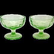 Hocking Block Optic Green Depression Glass Sherbets Set of Two